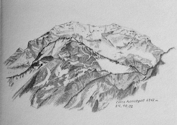 005.Skizze, Cerro Aconcagua 6962m /Argentinien