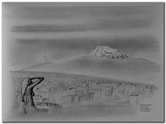 157.Skizze.Yerevan & Ararat.Armenien