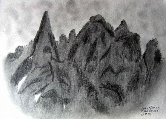 067.Skizze, Seeschijen vom Hüenersee aus, Klosters /Schweiz