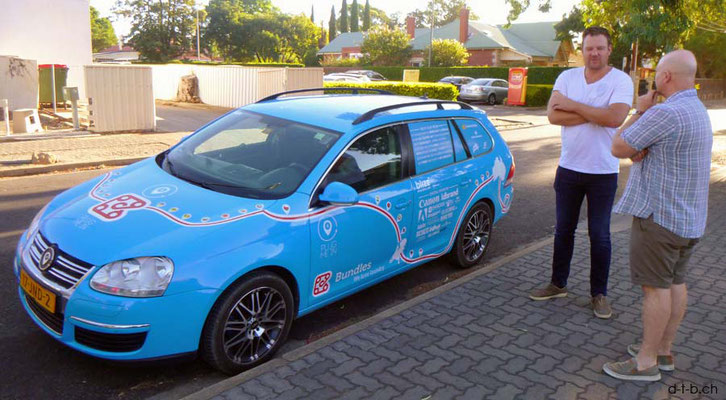 AU: Adelaide. Wiebe Wakker with his EV Blue Bandit