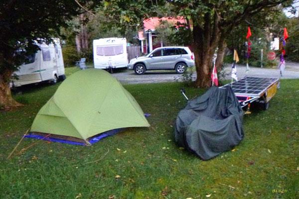 NZ: Solatrike unter den Bäumen bei Sheepworld im Dome Valley