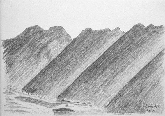 041.Skizze, Cerro Yanagaga /Peru