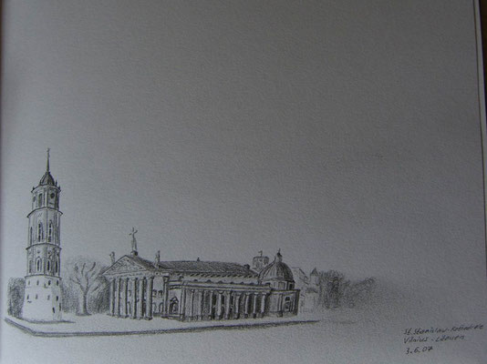 075.Skizze, St.Stanislaw-Kathedrale, Vilnius /Litauen
