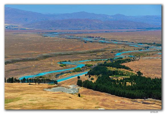 NZ0798.Lake Tekapo.River.View from Mt.John
