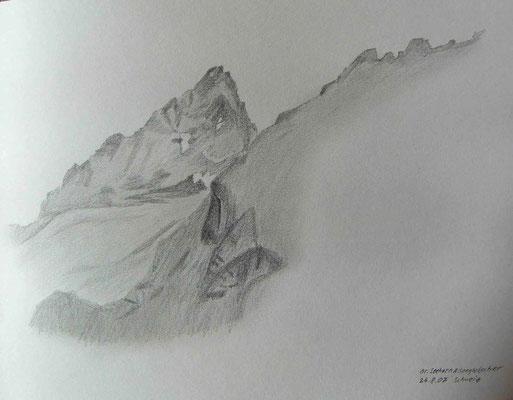 080.Skizze, Grosses Seehorn & Seegletscher /Schweiz