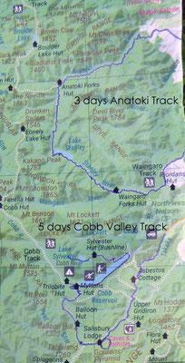 Karte: Cobb Valley Track und Anatoki Track Vergleich