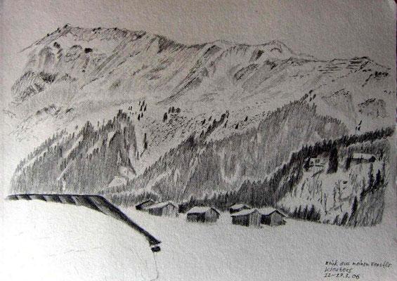 063.Skizze, Blick aus meinem Fenster, Klosters /Schweiz
