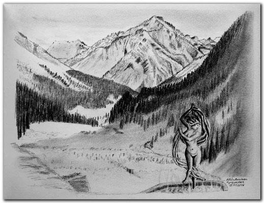169.Skizze.Altyn Arashan.Kyrgyzstan