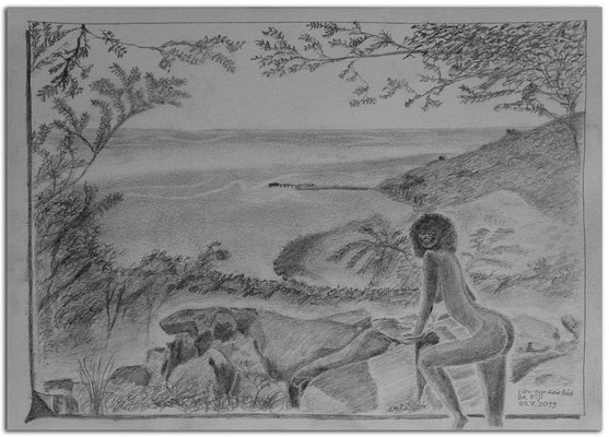 227.Skizze.View from Vatia Point.Ba.Fiji