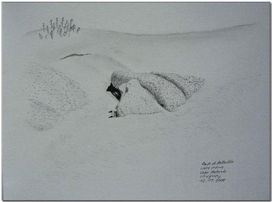 092.Skizze, Rocas de Bellavista entre arena, Cabo Polonio /Uruguay