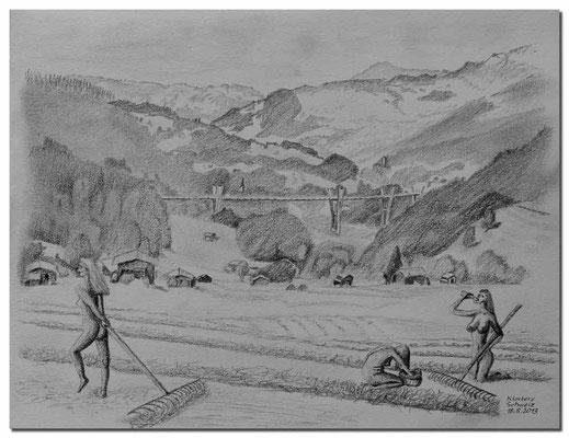 131.Skizze.Heuernte.Klosters.Schweiz