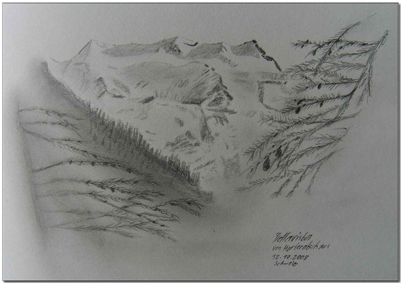 090.Skizze, Bellavista von Morteratsch aus /Schweiz