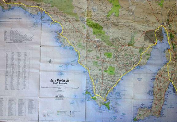 Karte: Eyre Peninsula: Ceduna - Adelaide