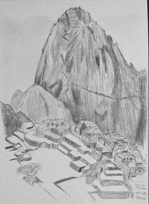 040.Skizze, Machu Picchu /Peru
