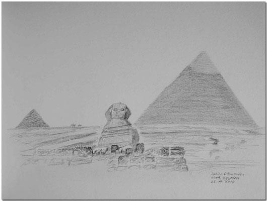 101.Skizze, Sphinx & Pyramiden, Giseh /Ägypten