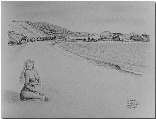 115.Skizze, Caleta del Congrio, Playa Papagayo, Lanzarote /Spanien