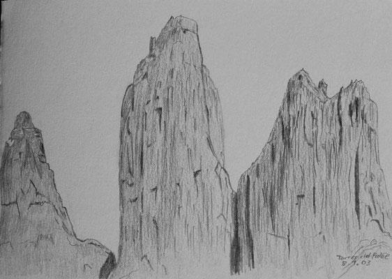 026.Skizze, Torres del Paine /Chile