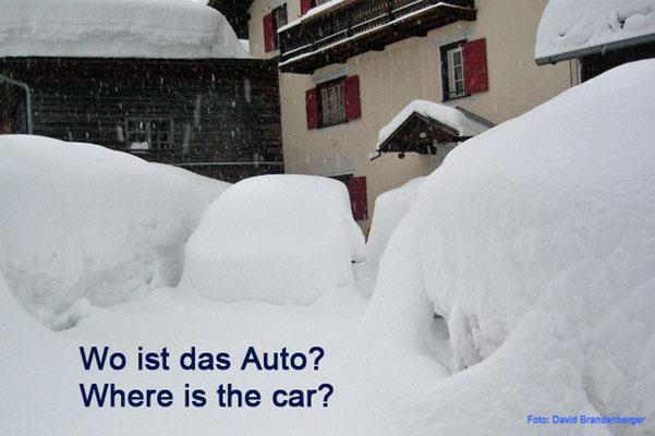 """Schweiz, Klosters, """"Wo ist das Auto?"""""""