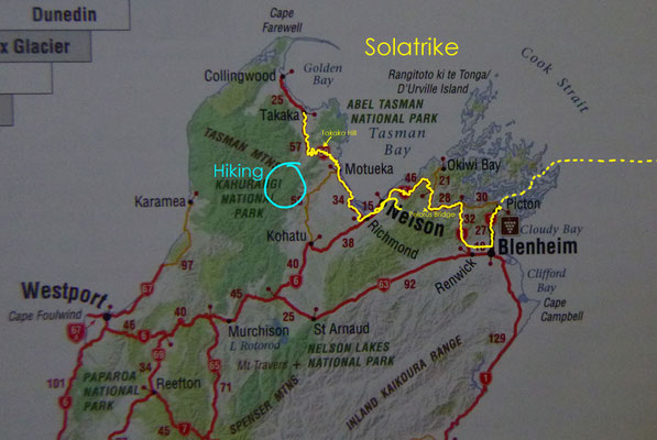 Karte: Nordteil der Südinsel von Neuseeland