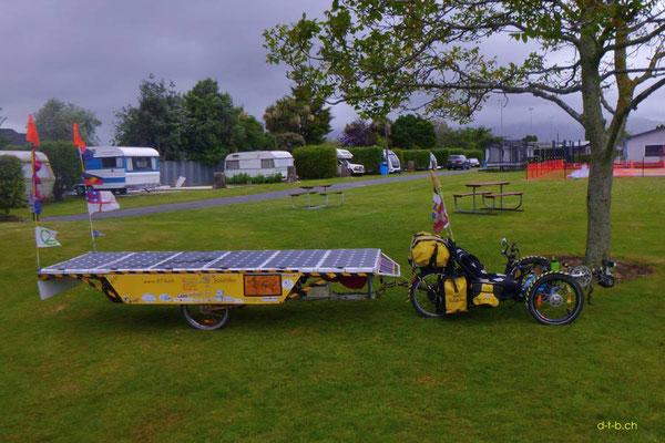 NZ: Solatrike im Camping in Levin