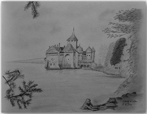 119.Skizze,Château de Chillon,CH