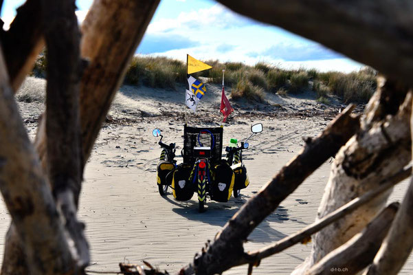 NZ: Solatrike am Strand von Southshore, Christchurch