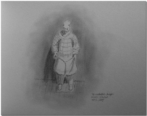 096.Skizze, Terrakotta-Krieger, Xian /China