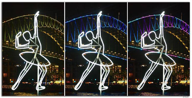 AU1574.Sydney.Vivid.Dancer in front of Harbour Bridge