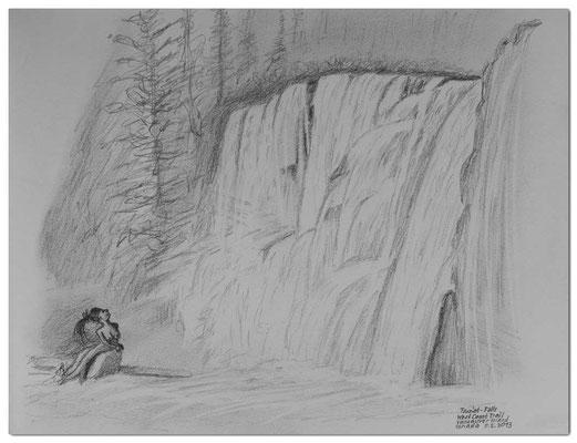 122.Skizze.Tsusiat Falls,West Coast Trail.Vancouver Island.Canada