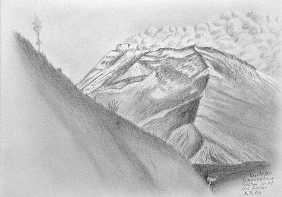 052.Skizze, Vulkan Tungurahua 5020m Sicht aus Baños /Ecuador