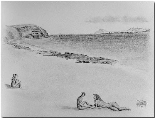 114.Skizze, Playa Pouo con vista hasta Fuerteventura, Lanzarote /Spanien