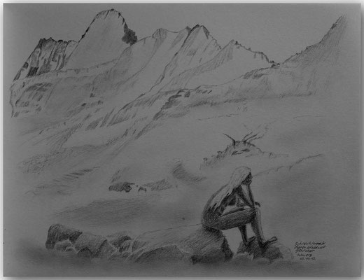 118.Skizze,Schreckhorn & Oberer Grindelwaldgletscher,CH
