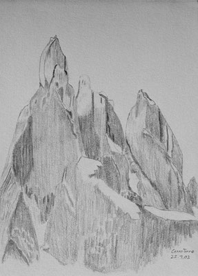 030.Skizze, Cerro Torre /Argentinien