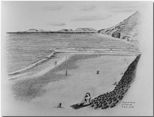 113.Skizze. Playa de Famara, Lanzarote /Spanien