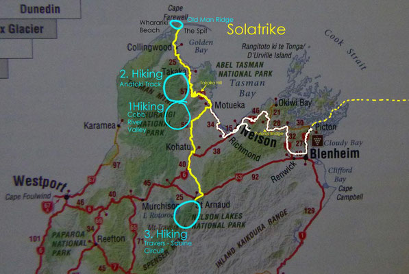 Karte: Nordteil der Südinsel von Neuseeland 2