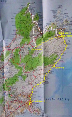 Karte: Neuseeland Südinsel Nordteil
