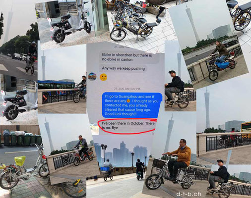 CN.E-Bikes in Guangzhou were there were apparently NO E-BIKES and they are forbidden there.