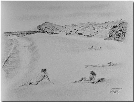 116.Skizze. Caleta del Congrio, Playa Papagayo, Lanzarote /Spanien