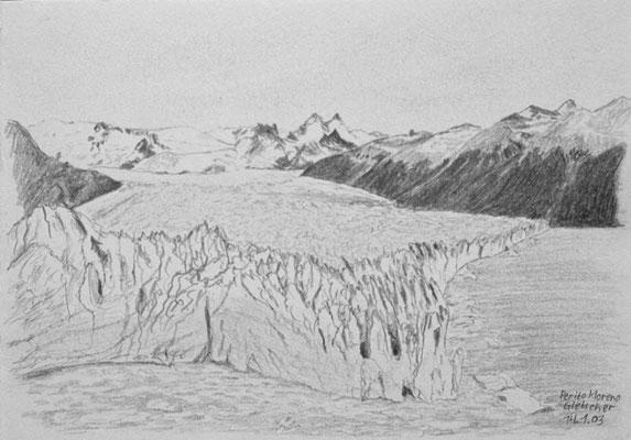 027.Skizze, Perito Moreno Gletscher /Argentinien