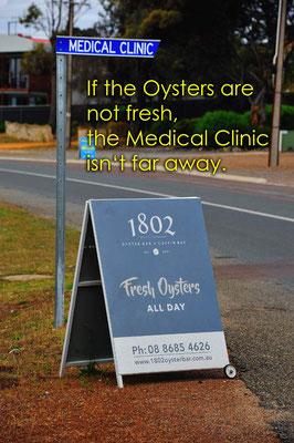 Australien.Cuffin Bay.Falls die Muscheln doch nicht so frisch waren, das Spital ist gleich um die Ecke.