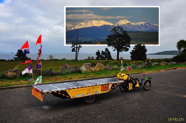 NZ: Solatrike am Lake Taupo ohne Aussicht auf die Vulkane