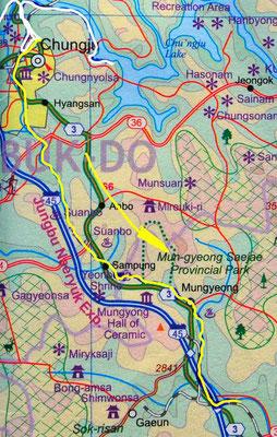 Tag 275: Chungju - Mungyeong (Karte)
