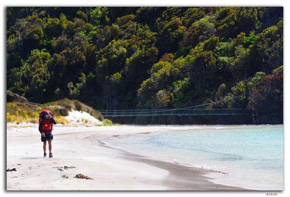NZ0863.Stewart Island.Rakiura Track.Maori Beach.Tramper