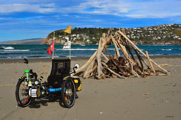 NZ: Solatrike am Strand von Southshore, Christchurch