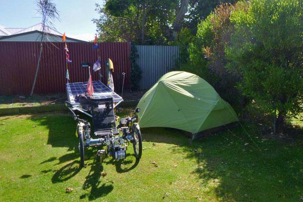 NZ: Solatrike in Invercargill, City Campingplatz