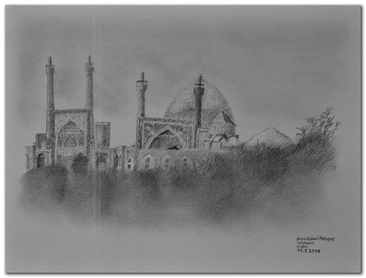 159.Skizze.Isfahan.Jame Abbas Mosque.Iran