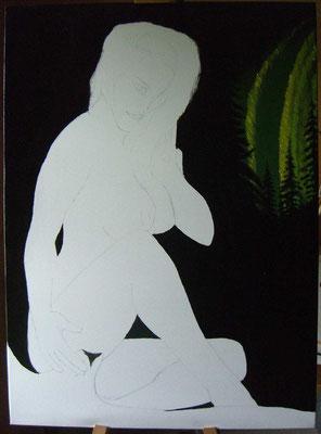 Schwarzer Hintergrund übermalt und Nordlicht gemalt