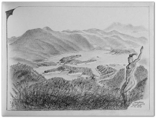 182.Skizze.Tai Lau Chung Reservoir.Hong Kong