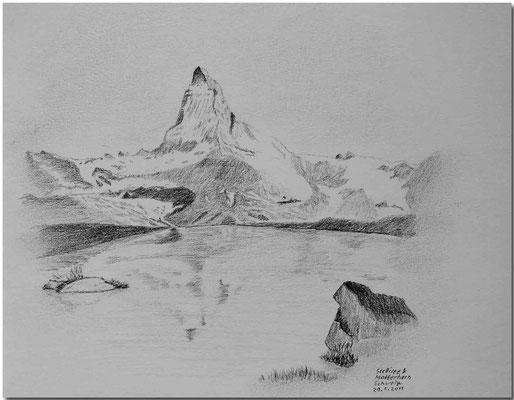 108.Skizze, Stellisee & Matterhorn /Schweiz