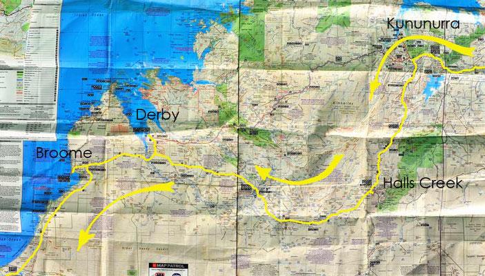 Karte: Kimberley (Kununurra - Sandfire Roadhouse)